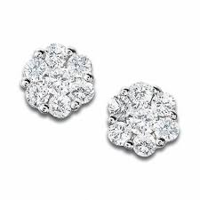stud diamond earrings 1 3 ct t w diamond flower stud earrings in 10k white gold
