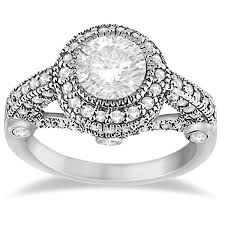 deco engagement ring vintage diamond halo deco engagement ring 14k white gold 0 97ct