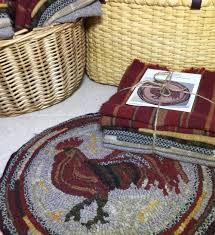 Rooster Rugs Round by Primtive Rug Hooking Kit For Herald The Rooster Chair Pad 14 Round