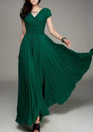 maxi dress with sleeves green pleated deck bohemian sleeve maxi