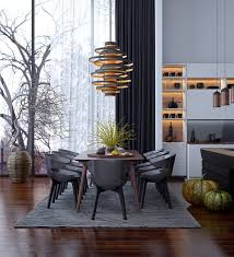 Dining Room Pendant Lighting Fixtures Dining Room Spiral Black And Gold Pendant Lighting For Dining