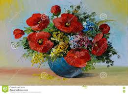 Vase With Red Poppies Painting Of Poppies In Vase Defendbigbird Com