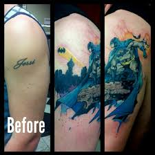 finished batman tattoo cover up kevin burfield at mid town tattoo