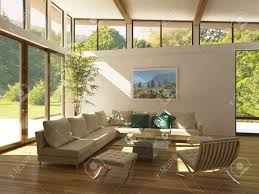 living room trees modern living room with large windows wooden floor and plant