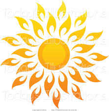 vector clipart of a bright summer sun with petal rays 1 by 23