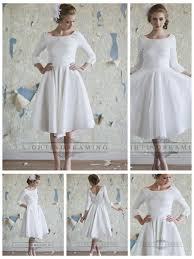 classic vintage a line 3 4 length sleeves tea length wedding