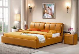 bedroom furniture free shipping 2018 genuine leather bed luxury style golden simple fasion double