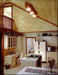 love this rustic kitchen with the pine vaulted ceilings room by