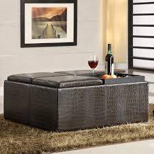 coffee tables mesmerizing leather cocktail ottoman with shelf