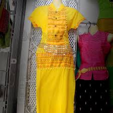 yellow color one set design shan traditional dress bagantrade