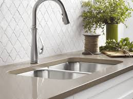 Kohler Brushed Nickel Kitchen Faucet Sink U0026 Faucet Awesome Fontaine Chrome Modern European Spring