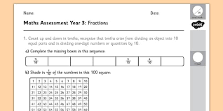 year 3 maths assessment fractions term 1 fraction numbers
