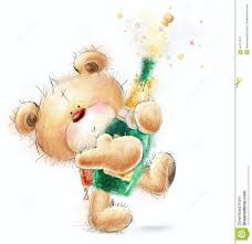cute teddy bear with the bottle of close up champagne party