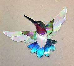 Garden Stone Craft - precut stained glass kit male hummingbird mosaic inlay garden