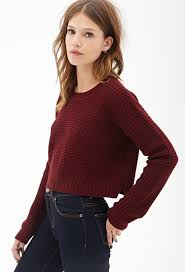 forever 21 cropped waffle knit sweater in lyst