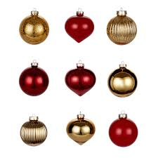 gold glass baubles pack of 9 departments diy at b q