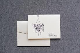 Newlywed Cards Elegant Chandelier Wedding Thank You Card Personal Stationery Set