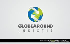 globe around logistics logo template 123freevectors