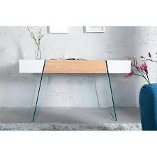 Schreibtisch Aus Glas Sekretär Konsolentisch Schreibtisch Weiss Oak 120x40 Schublade