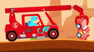 dinosaur rescue truck monster truck driver kids cartoons videos