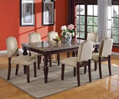dining table set bandele emparedora gray marble top espresso finish