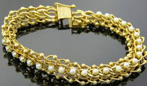 yellow gold pearl bracelet images 14k yellow gold rope border pearl bracelet andrew fabrikant jpg