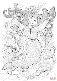 mermaid and sea horses dancing coloring page free printable