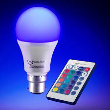 color changing light bulb with remote auraglow 7w remote control colour changing led light bulb b22