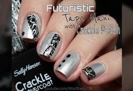 easy nail art black u0026 silver tape mani youtube