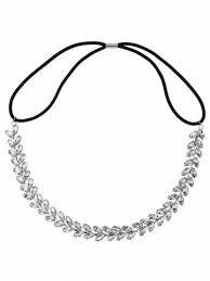 elastic hairband silver rhinestoned sparkly wedding elastic hair band rosegal