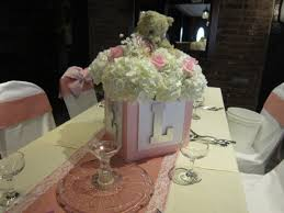 teddy centerpieces for baby shower baby block centerpiece with hydrangea roses babies breath and a