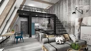 concrete interior design interior grey color decor for concrete loft design with mezzanine