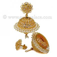 gold jhumka earrings 22k gold pearl cz screwback jhumkas gold jewelry gold palace