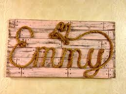 Western Baby Nursery Decor Colored Western Wood Rope Name Sign Baby Country Rustic Distressed