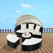 outdoor canopy daybed patio sets furniture wicker pool round sofa