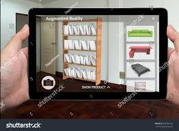Home Design 3d Tablet Augmented Reality Marketing Technology Concept Hand Stock Photo