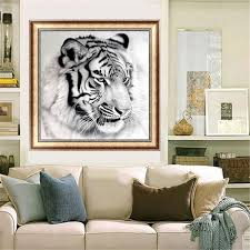 home interior tiger picture 12x12 inches black and white tiger 5d painting embroidery