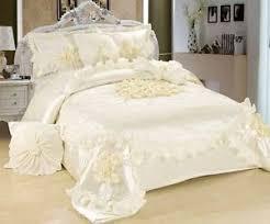 solid white comforter set tache 6 piece solid cream white sweet victorian ruffle satin quilt