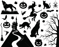 collection of a halloween silhouettes royalty free cliparts