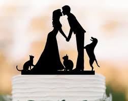 personalized wedding cake topper with cat mr and mrs date