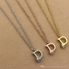 rose zircon necklace images Wholesale the new version of d titanium clip single letters drill jpg