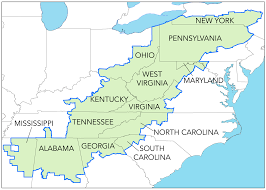 Virginia Mountains Map by Most Of Pennsylvania Susan Is Included In The Federal Definition