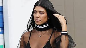 kourtney kardashian rocks a totally sheer top and mesh bra