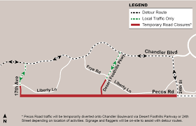 Phoenix Traffic Map by Pecos Road To Be Closed Intermittently For South Mountain Freeway