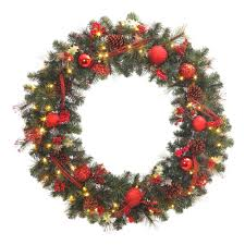 wreath with battery operated led lights 48 in