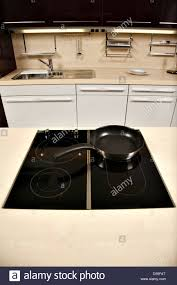 modern stove in a beautifully designed kitchen stock photo