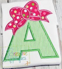 bow alphabet letter set a z applique machine embroidery design 4