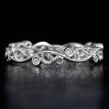 filigree wedding band diamond deco 14k wedding band filigree floral vintage retro