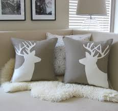 deer pair decorative pillow covers sand beige u0026 cream appliqué