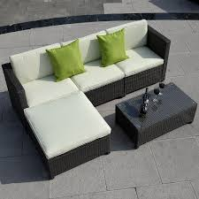 5pc patio sofa set sectional furniture pe wicker rattan brown